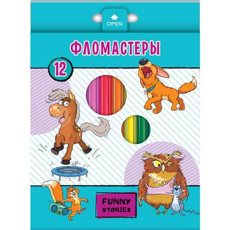 Фломастеры 12цв Забавные животные в к/к с е/п