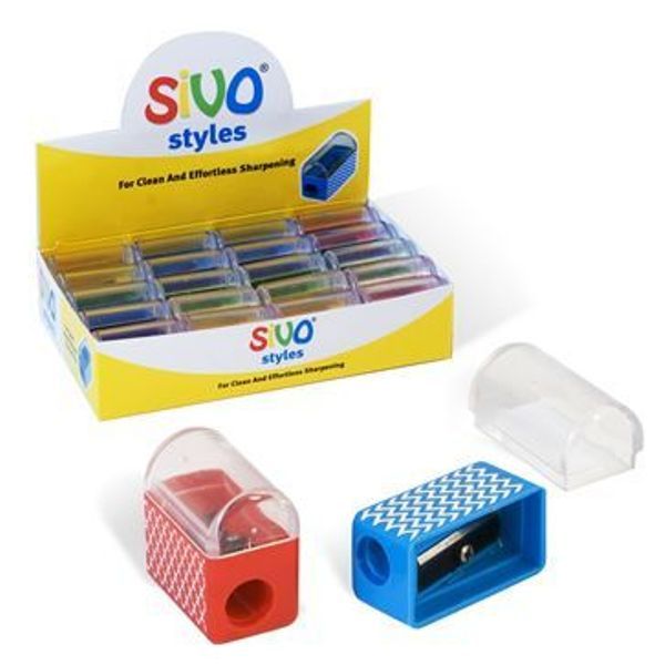 Точилка пластик одинар с контейнером SIVO «Pressfit»