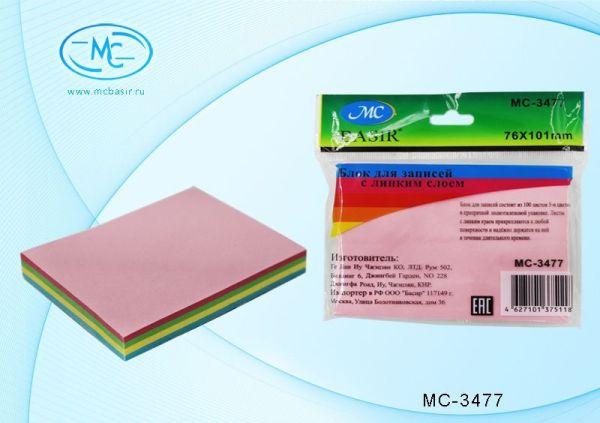 Бумага с лип слоем 76 х 101мм 100л (5цв.) Пастель