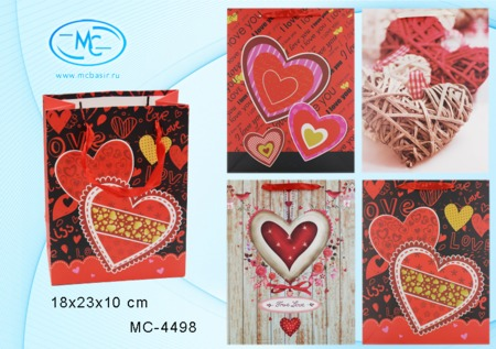 Пакет подарочн 18х23х10см Love (плотный)