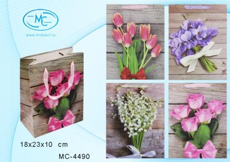 Пакет подарочн 18х23х10см Цветы (плотный)