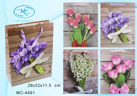 Пакет подарочн 26х32х11,5 см Цветы (плотный)