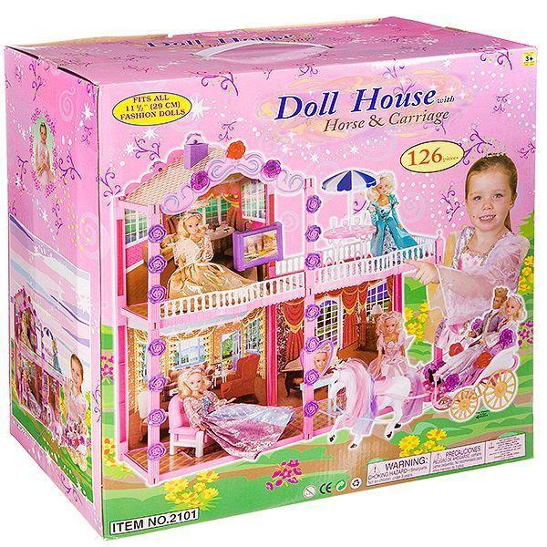 Дом для куклы с мебелью 72х28х72см (126дет)