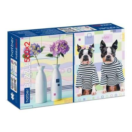 Пазлы 500+500эл Цветы-Собаки много не бывает (2 картинки)