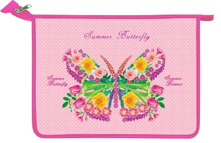 Папка А4 молния сверху Бабочка на розовом