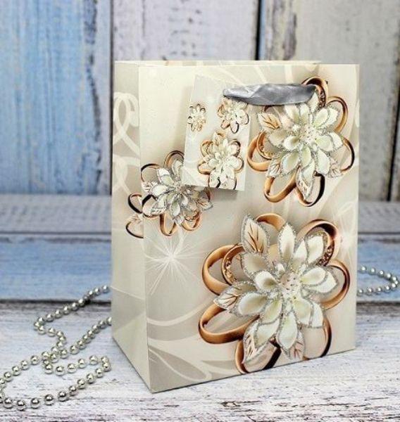 Пакет подарочн 18х23х10см Очаровательные цветы (плотные)