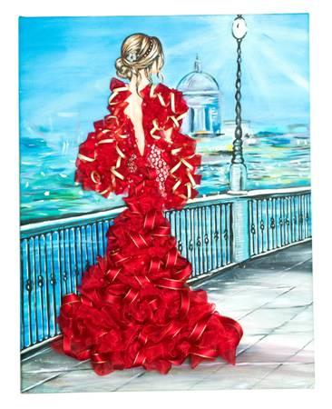 Мозаика из пайеток на холсте «Девушка в красном»