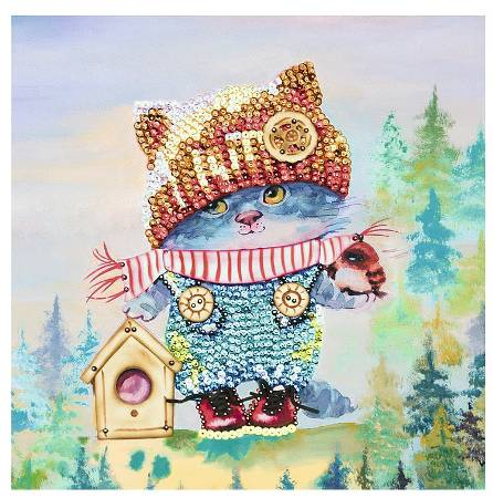 Мозаика из пайеток на холсте «Озорной котенок»