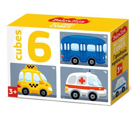 Кубики 6шт Городской транспорт (без обклейки)