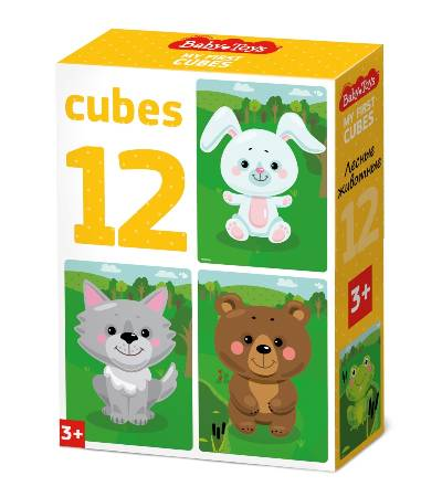 Кубики 12шт Лесные животные (без обклейки)