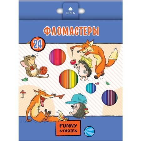 Фломастеры 24цв Hatber «Забавные животные»