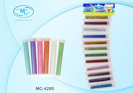 Блестки в пластиковых тубах 7,5см 9гр 12цв