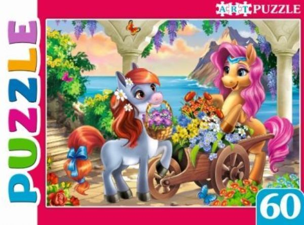 Пазлы 60эл «Пони и цветы»