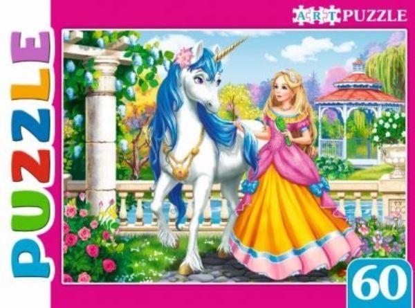 Пазлы 60эл «Принцесса и единорог в саду»