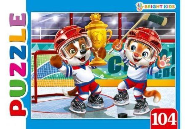 Пазлы 104эл «Брайт кидс.Игра в хоккей»