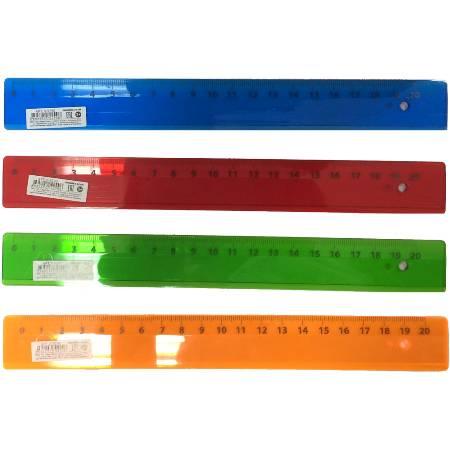 Линейка 20см пласт Цветное,прозрачное ассорти
