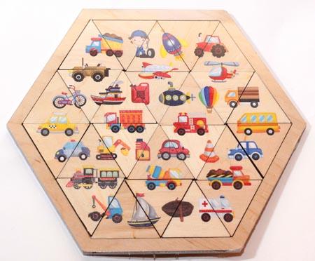 Пазлы дер.Занимательные треугольники.Транспорт