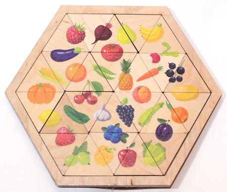 Пазл деревянный Занимательные треугольники.Овощи, фрукты, ягоды