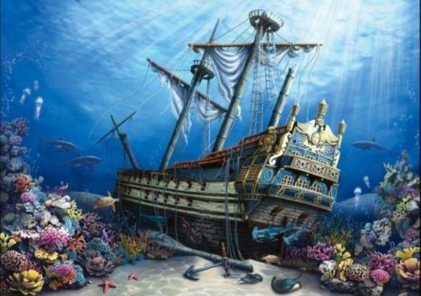 Картина по номерам 30х40см «Затонувший корабль на дне моря»