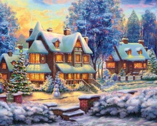 Картина по номерам 40х50см Уютные зимние домики