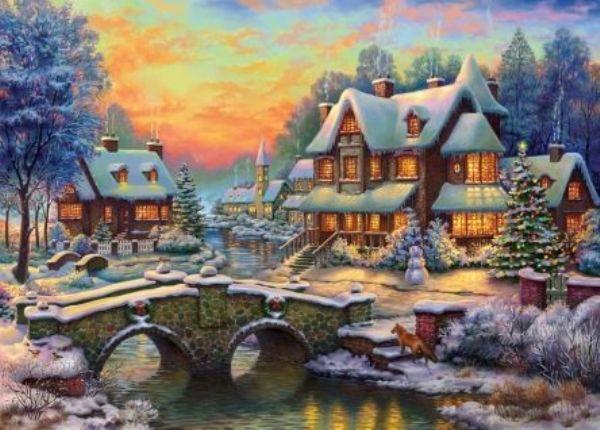 Картина из кристаллов 40х50см Зимняя новогодняя деревня (28цв)