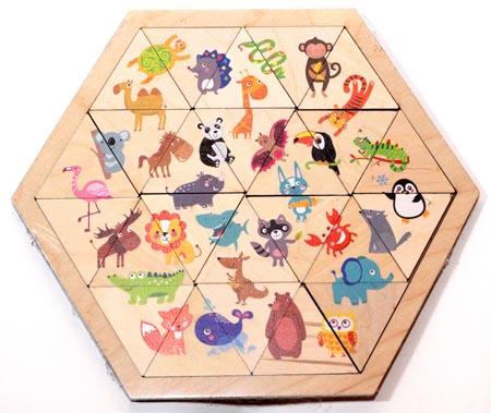 Пазл деревянный Занимательные треугольники. Веселый зоопарк