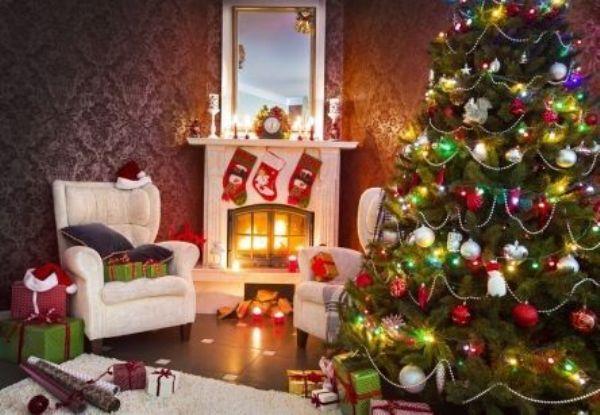 Картина по номерам 40х50 Новогодняя елка у камина