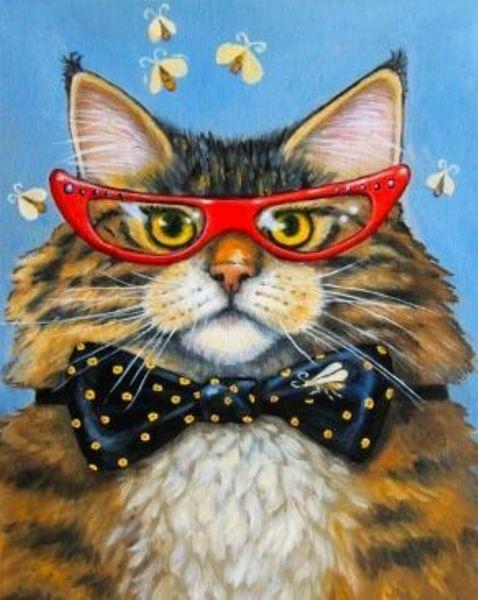 Картина из кристаллов 17х22см Деловой кот (17цв, без подрамника)