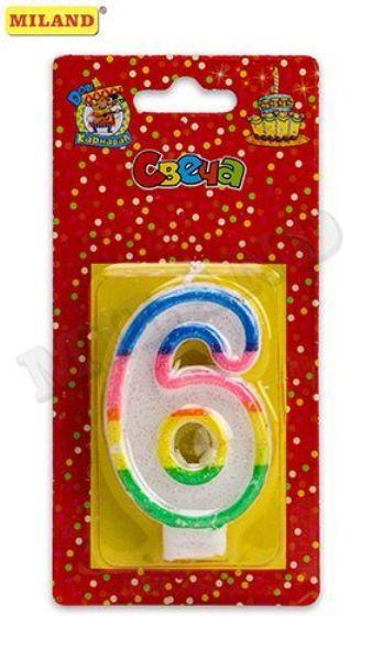 Свеча д/торта «Цифра 6» с разноцветной окантовкой с блестками