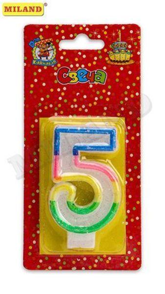 Свеча д/торта «Цифра 5» с разноцветной окантовкой с блестками