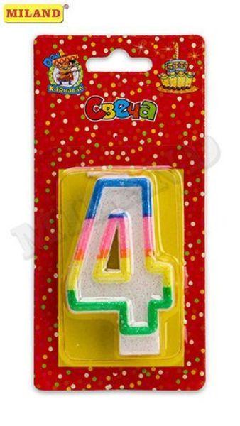 Свеча д/торта «Цифра 4» с разноцветной окантовкой с блестками