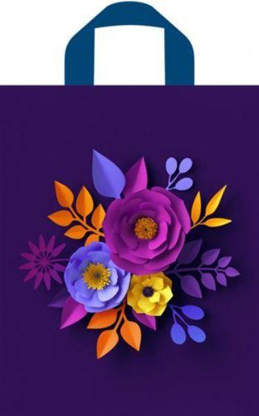 Пакет полиэтиленовый 35х28см с петлевой ручкой Объемные цветы