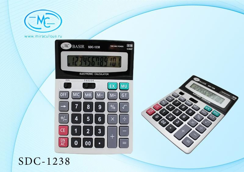 Калькулятор 12 разр 18,7х14,6х3,3см двойное питание