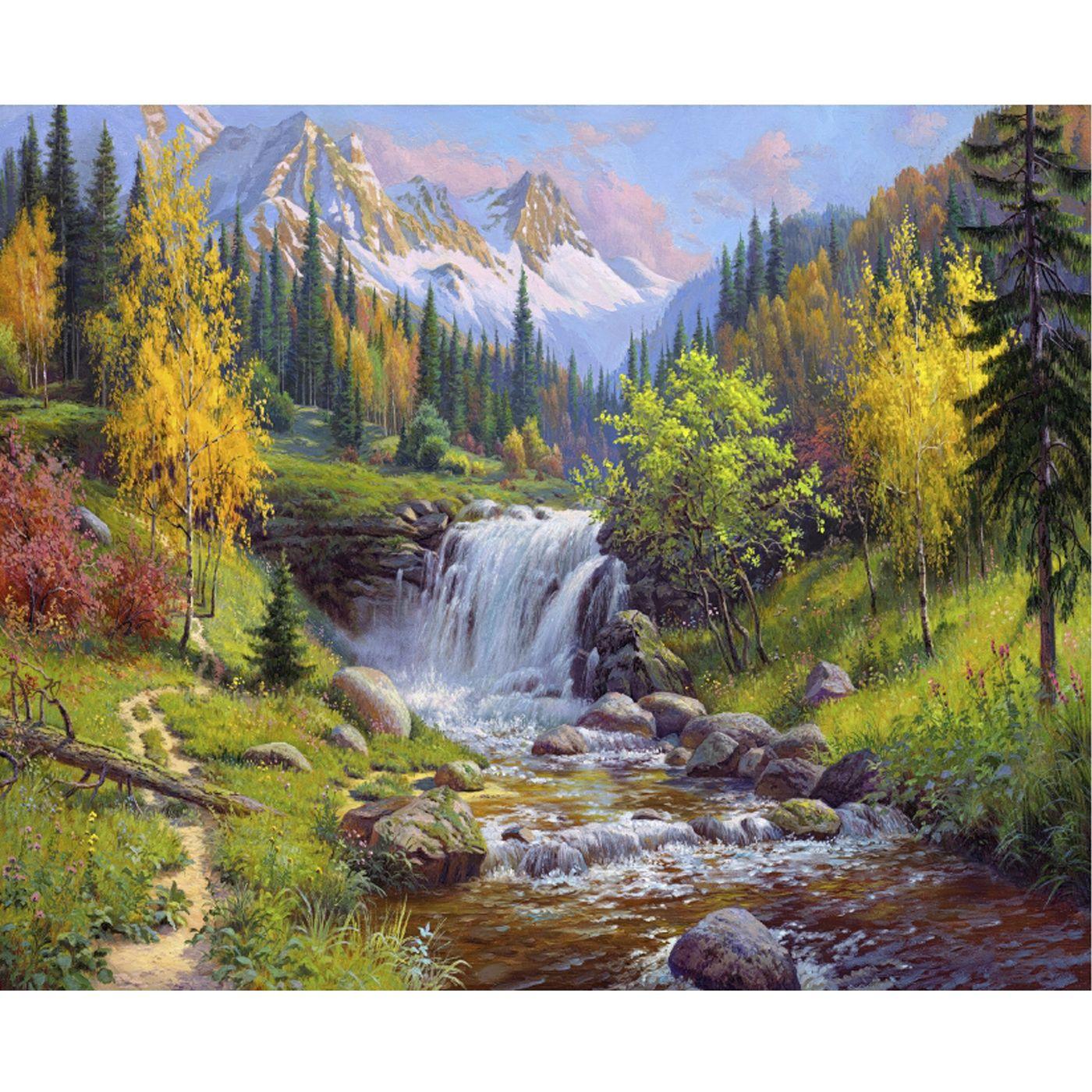 Картина по номерам 40х50см Прищепа. Горный ручей (31 цвет)