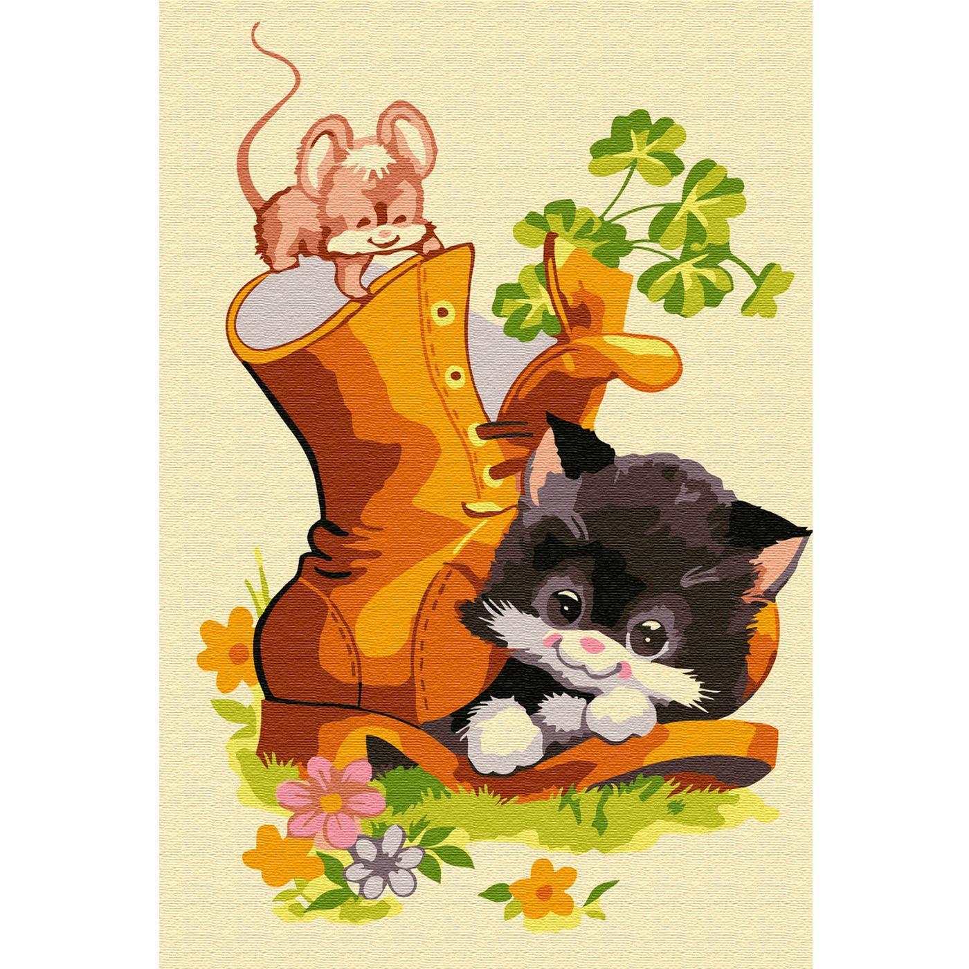 Картина по номерам 20х30см Котенок в ботинке (15 цветов)