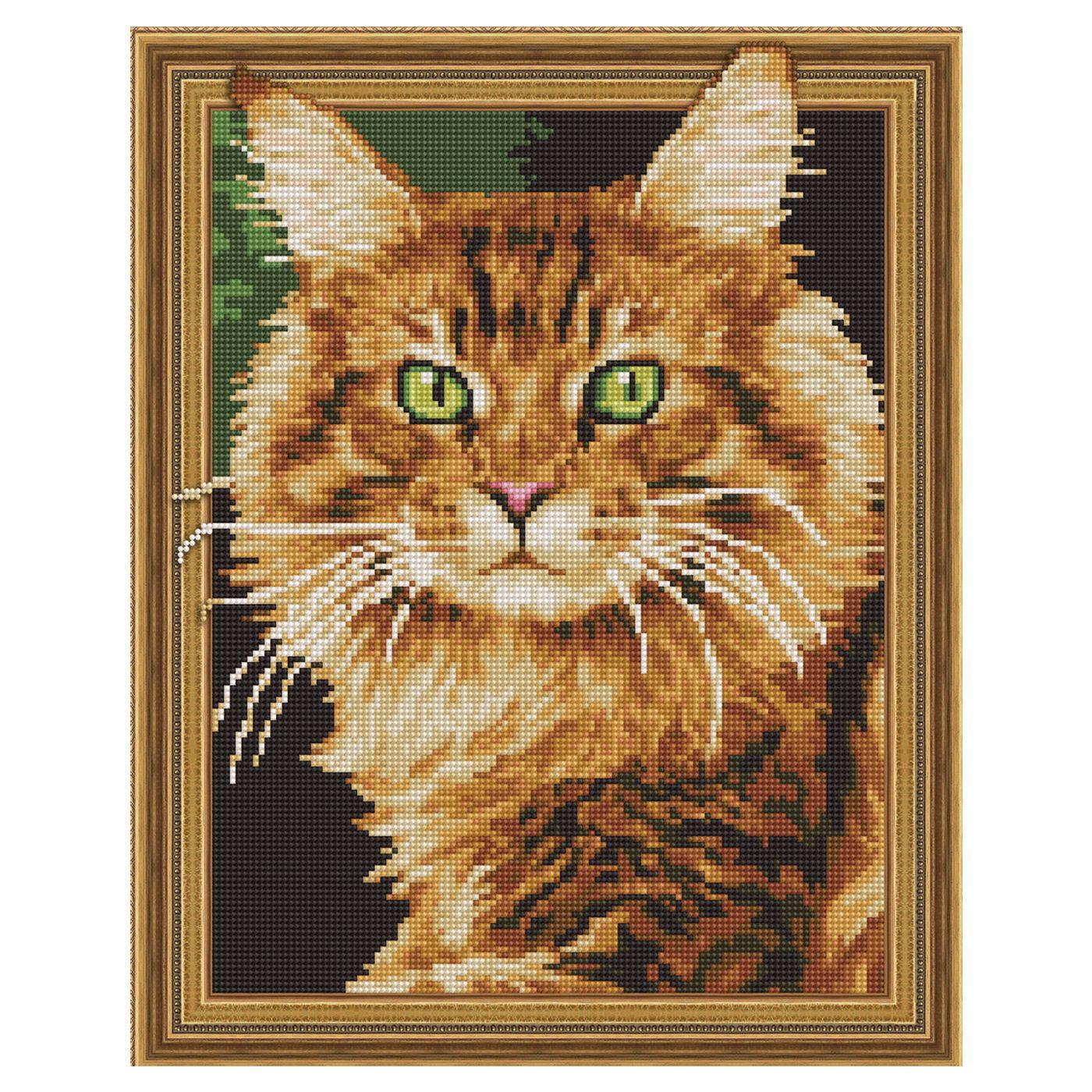 Картина из кристаллов 3D 40х50см Рыжий кот (20 цветов)
