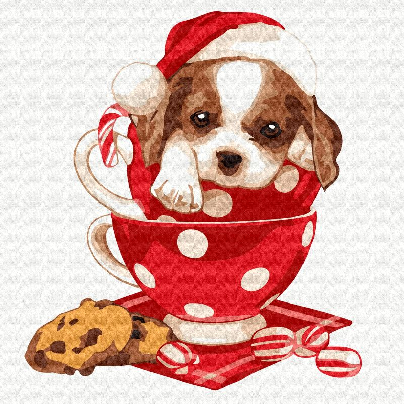 Картина по номерам 20х20см Новогодний щенок 11цв
