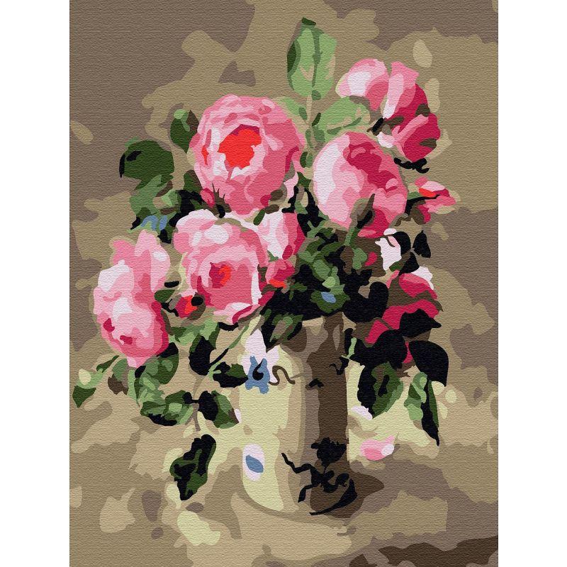Картина по номерам 15х20см Розовый шиповник 16 цветов