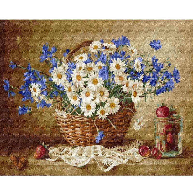 Картина по номерам 40х50см Бузин. Ромашковое настроение 28 цветов
