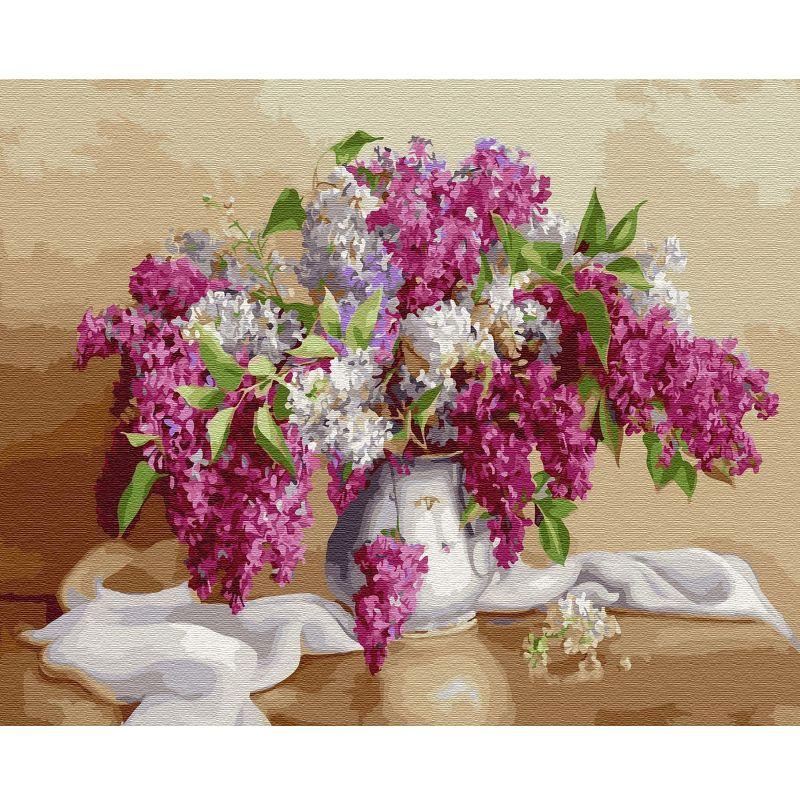 Картина по номерам 40х50см Бузин. Сирень 28 цветов