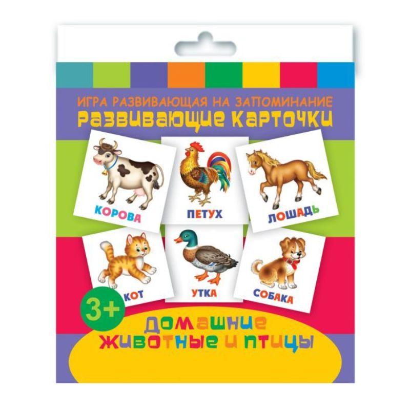 Развивающие карточки. Домашние животные и птицы (12 карточек)