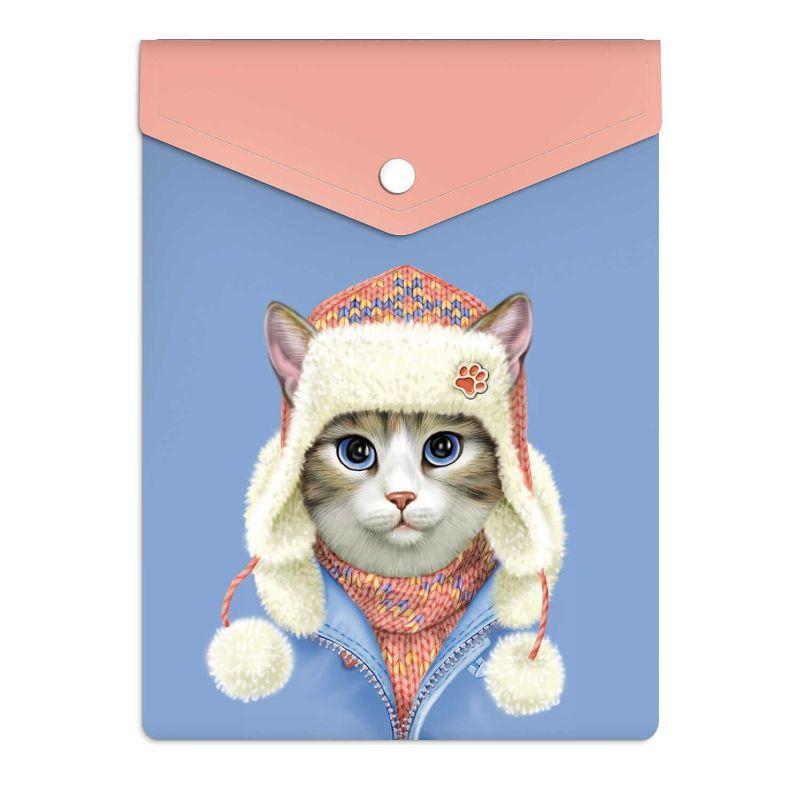 Папка-конверт А6 пластиковая Кот