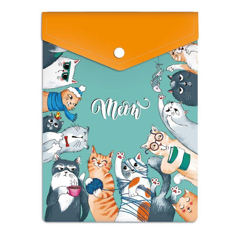 Папка-конверт А6 пластиковая Коты