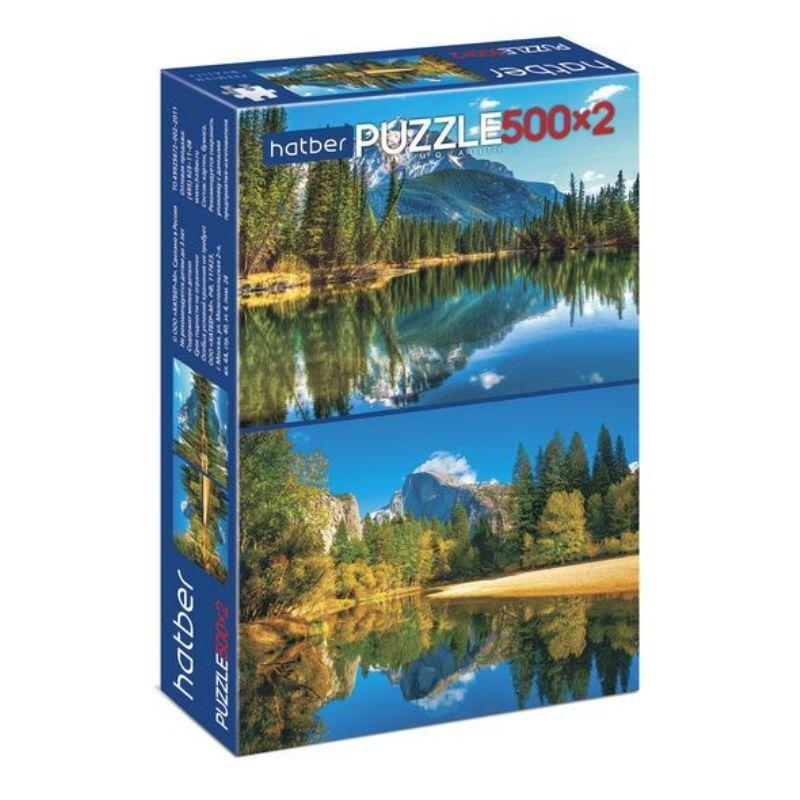 Пазлы 500+500эл Горное озеро (2 картинки)