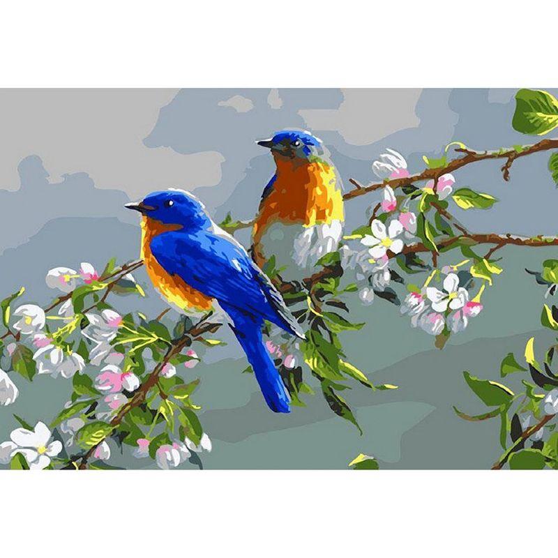 Картина по номерам 20х30см Весенние птицы (15 цветов)