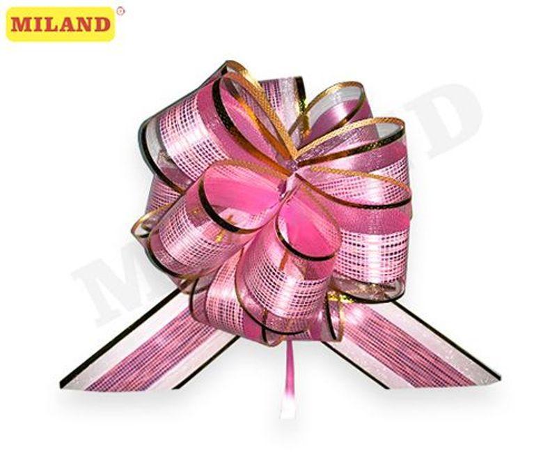 Бант-шар 5см Красивый узор. Розовый с золотой окантовкой (полипропиен, органза)