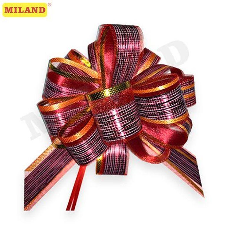 Бант-шар 5см Красивый узор. Красный с золотой окантовкой (полипропиен, органза)
