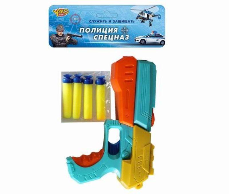 Пистолет (20см) Цветной бластер с мягкими пулями (4шт)