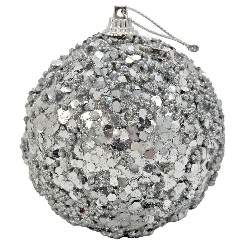 Украшение елочное Шар с блестками 8см серебро