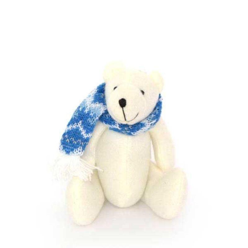 Украшение декоративное Мишка в шарфе 12см в пакете